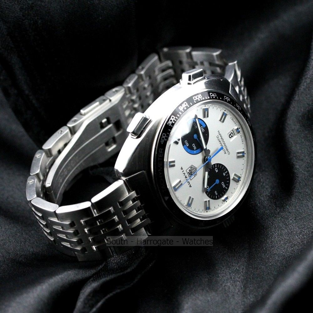 TAG HEUER AUTAVIA Reissue White dial blue racing highlights