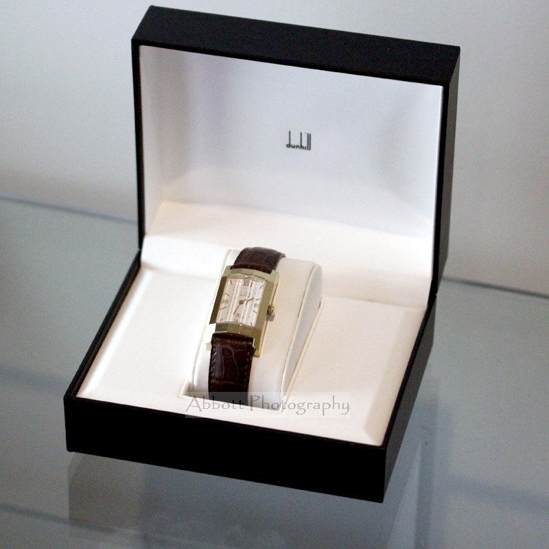 Dunhill faceted glass mens gold watch