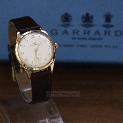 garrard 9ct yellow gold mens vintage watch
