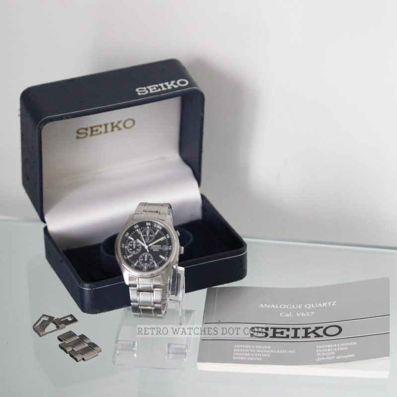 SEIKO V657 Black Dial 50M Steel Chronograph Mens Retro Watch : Serviced
