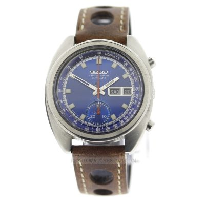 Seiko 6139 6012 Blue Dial Vintage Chronograph Watch