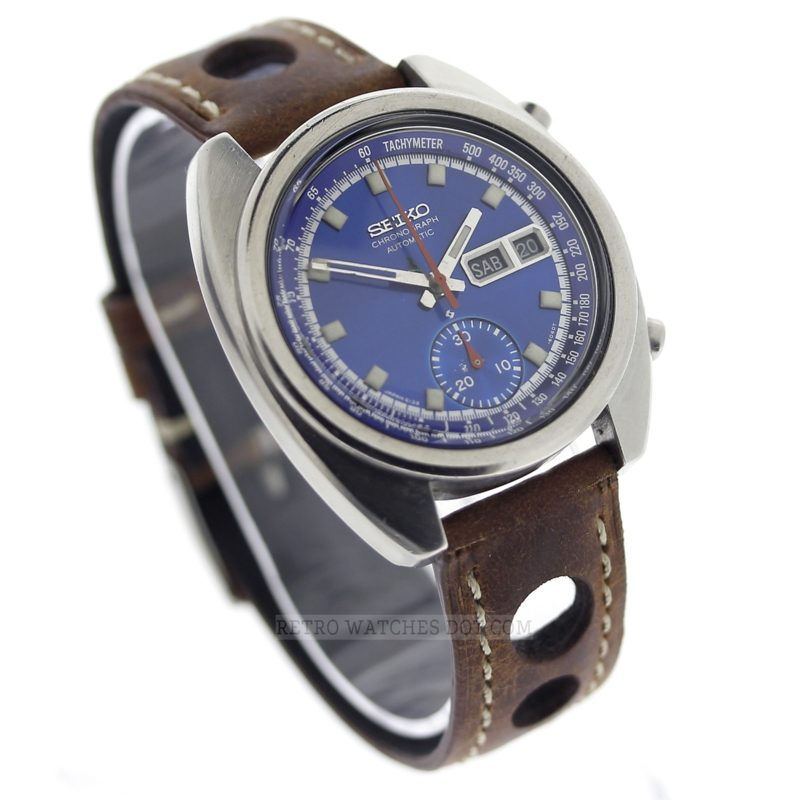 Seiko 6139 6012 Blue Dial Vintage Chronograph Watch Retro
