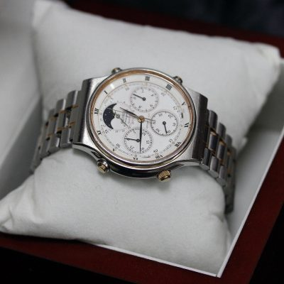SEIKO Moonphase Chronograph Vintage Retro Watch 7A48 7000 Quartz 39mm RARE