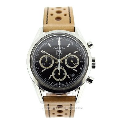 TAG HEUER Carrera Automatic Chronograph Retro Watch 1964 Re Edition c. 2002 CV2113-0