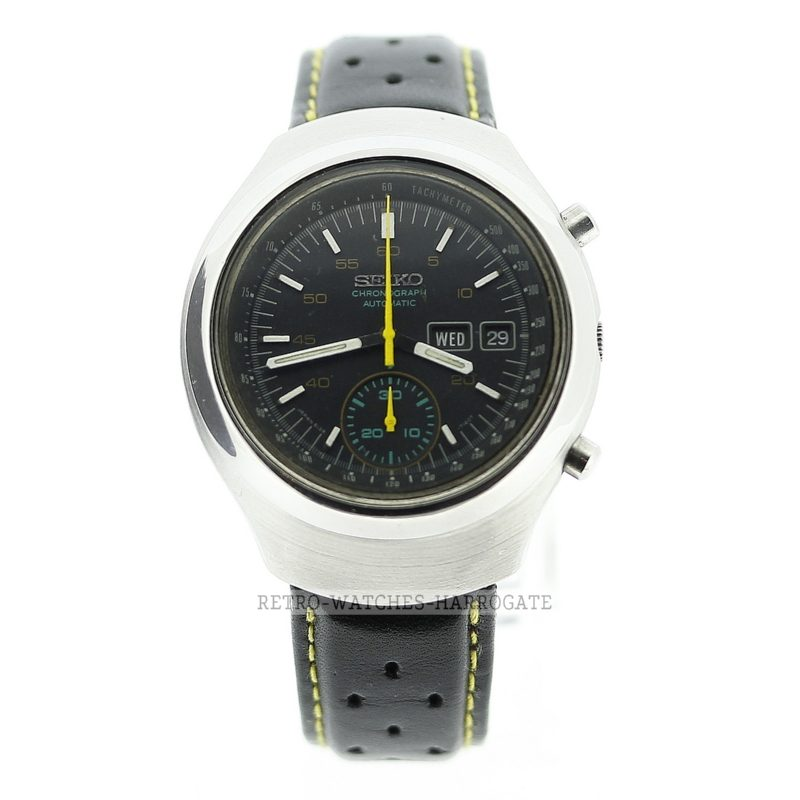 SEIKO Helmet Automatic Chronograph Vintage Retro Watch 6139 7100